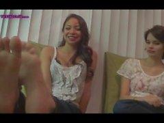 Sisters Nikki and Paris have ticklish feet