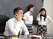 Two bad schoolgirls suck and fuck their teacher