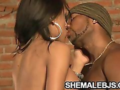 Latina shemale Rayna Leah sliding in and out a hard cock in