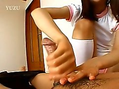Petite chick from korea gives handjob