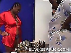 Meet Brownie Girl and Sweet Vanilla, these bbw ebony hotties are both pretty and very horny. Here these big beauties show off their massive juggs and examine their phat pussies with their fingers. Watch them diddle with their wet slits using a huge and th