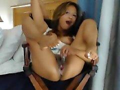 Het Asiatiskt Milf sprutning och Snuskprat på Webcam