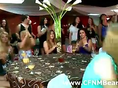 Amateur party girls sucking a CFNM strippers dick