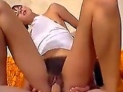 Cute Girl With A Bush Rides Cock On A Couch