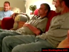 Three straight redneck mature touch cock
