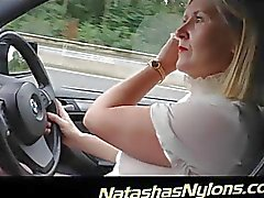 Such a cockteasing stockings slut in the car
