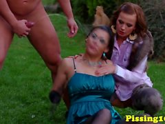 Goldenshower eurobabes in an outdoor threeway