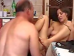 Cute hairy babe fucked and fingered by older man