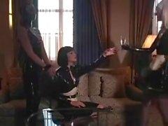 Mistress with 2 slaves ( latex maid bondage )