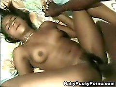 Natural Hairy Ebony Shows Off Her Bush