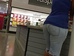 Ebony MILF Jean Shorts Hips and Ass