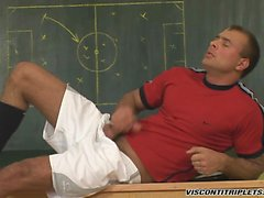 Jason Visconti wanks off his hard meat in his soccer suit