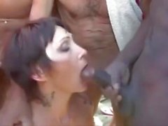 Nudist Gangbang with French beach slut