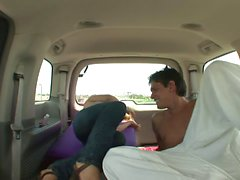 Kinky dude nails brunette babe hardcore in his van