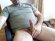 Daddy shooting big load on beard