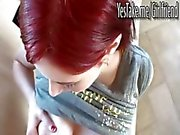 Sexy red hair gf Violet Monroe pounded and facialed on tape