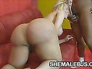 För Curvy Videor Shemale som suger ett svart hanen