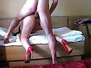 Cheating brunette wife in high heels gets fucked hard in a