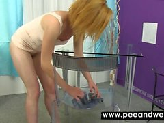 Toy play for piss soaked dirty babe