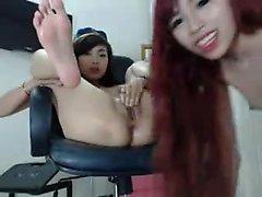 Lindos asiática lésbica putas lamber cona com fome
