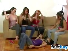 Four Femdoms With A Slave Girl