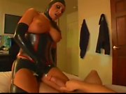 Slut In Latex Outfit Boots and Gloves Sucks and Fucks