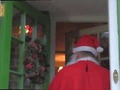 Natal cera quente nos mamilos e buceta