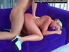 Cutie teen daughter spread her pussy