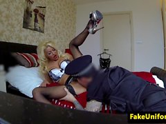 Nailed bigtitted jailbird jizzed on pussy