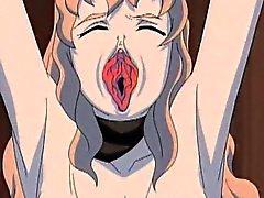 Rotes Anime Frauen mit Schwanz verdammte