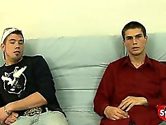 Two very nervous straight boys suck and jerk each other off