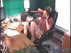 This slut is a secretary