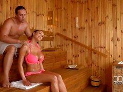 Busty Slovakian babe Pattty Michova fucks wildly in the sauna