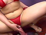 Meina, lingerie girl, endures huge cock in her twat