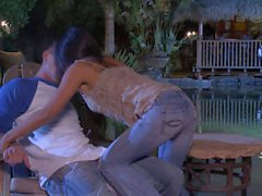 Hot asian Kaylani Lei sucks and fucks in the middle of the night