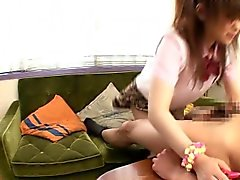 Asian schoolgirl doggystyle plowed on couch