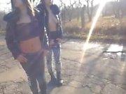 2 girls webcam naked public street - part ii