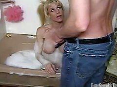 Blondine Große Titten Anal Creampie