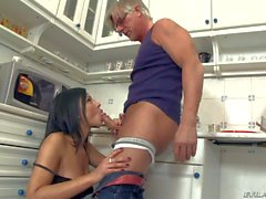 Naughty kitchen with delightful brunette Abbie Cat