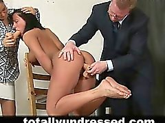 Young secretary undressed during job interview