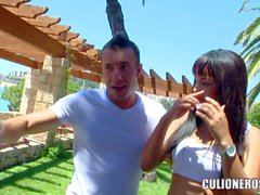 Hispanic babe Sasha Jones in white bra fucking outdoors