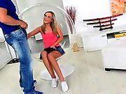 Pretty blonde teen babe Vinna Reed fucked and cum in mouth