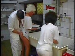 Mature brunette and platinum blonde granny get annihilated in a foursome in the kitchen