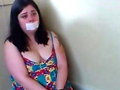 Handcuffed Chubby Slut Gagging on webcam show