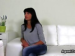 Tanned amateur fucks on casting couch so hard