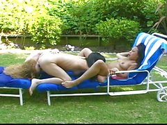 Lesbian chicks squirting outdoors for fun