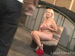 Mature blonde seduces her neighbor with her outfit