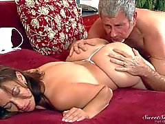 Sexy mature brunette Melissa Monet gets her snatch licked