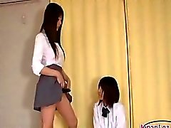 Schoolgirl Getting Her Strapon Sucked Pussy And Asshole Licked By Other Schoolgirl On The Bed