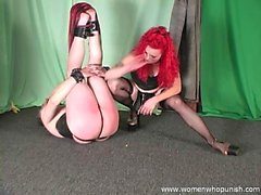 Mistress Melissa whipping and paddling pony slave